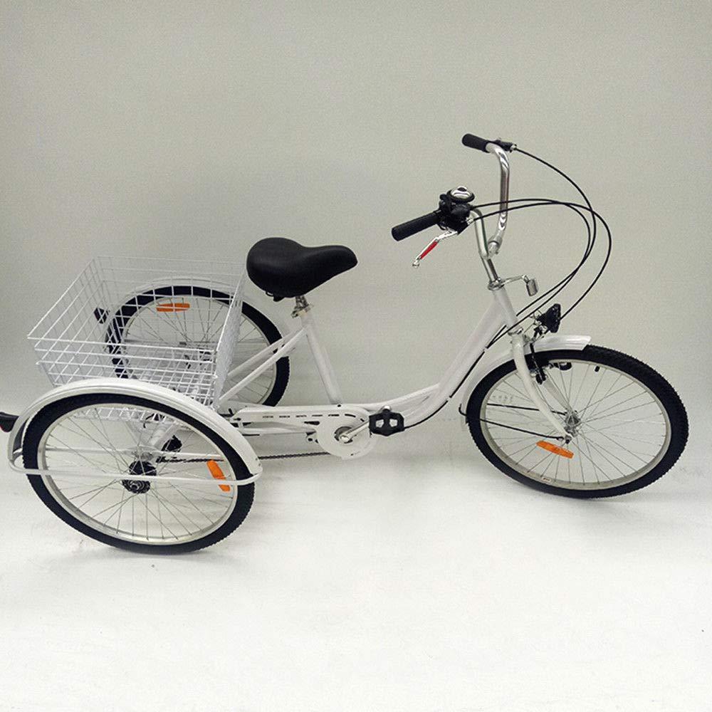 Blanc RANZIX Tricycle pour Adulte 24 Pouces 6 Gangs 3 Roues V/élos Senior Bicycle Tricycle Adulte avec Panier et Lampe