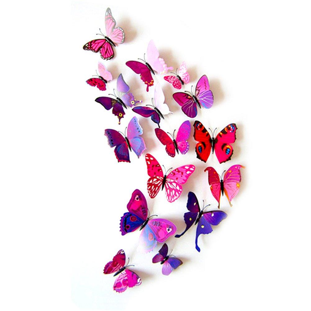 homiki 12 Stickers Muraux 3D Papillons Papiers Dé coration Mural Autocollants Bricolage Papillon Amovible Ré utilisable pour Dé coration de Maison et de Piè ce PG