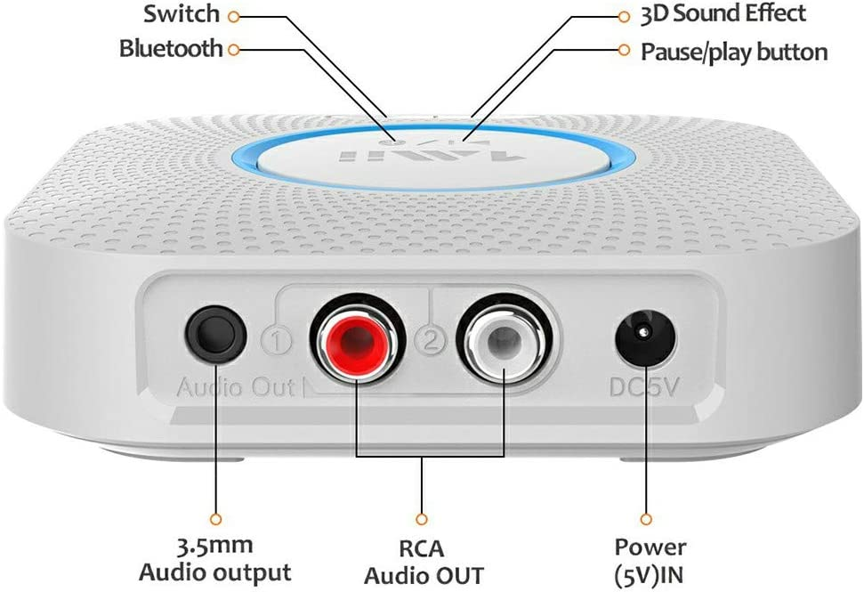 1Mii B06 Plus Bluetooth Receiver White HiFi Wireless Audio Adapter Bluetooth Receiver with 3D Surround aptX Low Latency for Home Music Streaming Stereo System