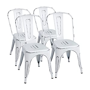 Furmax Metal Chairs Distressed Style Dream White Indoor/Outdoor Use Stackable Chic Dining Bistro Cafe Side Chairs(Set of 4) (Distressed White)