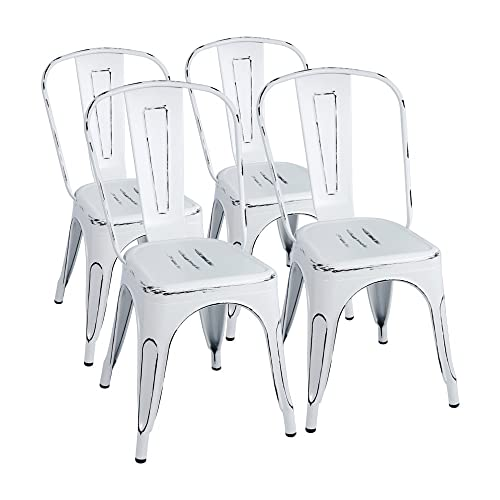 Furmax Metal Chairs Indoor Outdoor Use Stackable Chic Dining Bistro Cafe Side Chairs Set of 4 Distressed White