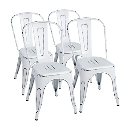 Wonderful Furmax Metal Chairs Distressed Style Dream White Indoor/Outdoor Use  Stackable Chic Dining Bistro Cafe