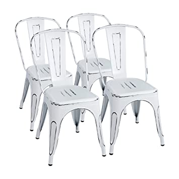 Furmax Metal Chairs Distressed Style Dream White Indoor/Outdoor Use  Stackable Chic Dining Bistro Cafe