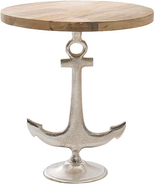 Riess Ambiente Maritimer Design Beistelltisch Anker mit Mango Holzplatte Tisch Wohnzimmertisch Massivholz
