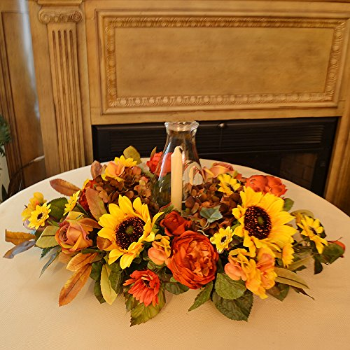 Thanksgiving floral candle centerpieces thanksgiving wikii for Thanksgiving 2016 home decorations