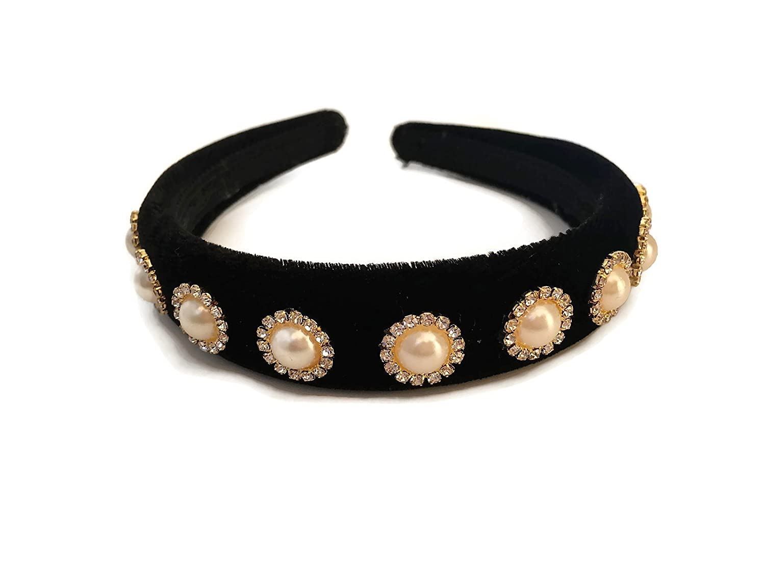 Gorgeous Black Velvet Headband Hair band Alice Band Crystal Diamante Cabochon with Gold Tone edging and back Women's Gift