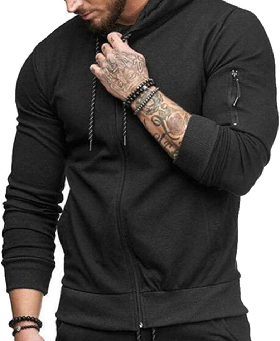 pujingge Mens Hoodies Solid Color Slim Fit Zip Sport Sweatshirt Jackets