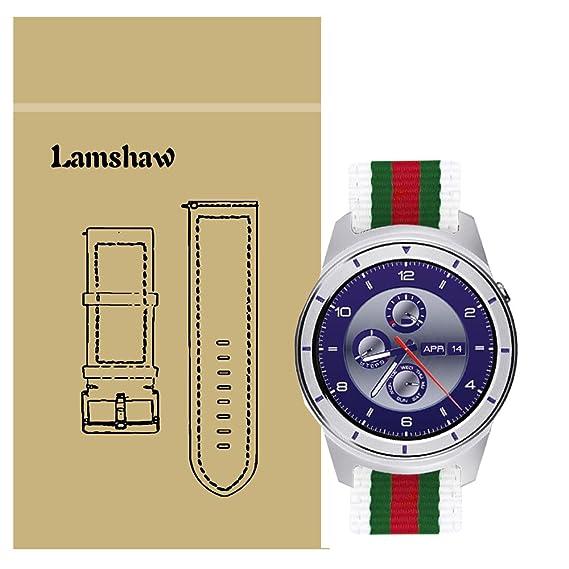 ZTE Quartz Smartwatch Band, Lamshaw Nylon with Leather Replacement Straps for ZTE Quartz Smartwatch (White)