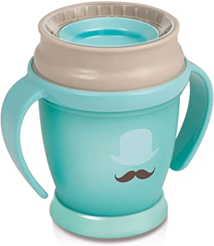 Baby Beaker with Handle 12+ Months Soft Silicone Spout Ergonomic BPA Free Easy to Clean 250 ml Drinking Without Spilling Blue LOVI My Non-Spill Toddler Easy Sip Cup