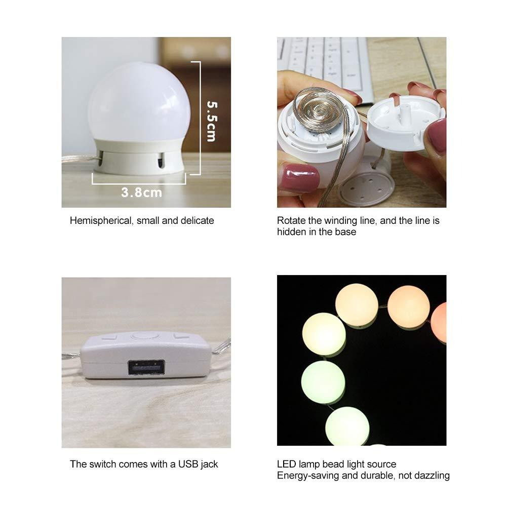 Rotekt 10LED Maquillaje Luces De Espejo Kit Bombillas Luz De La Vanidad Cadena De Luz Regulable