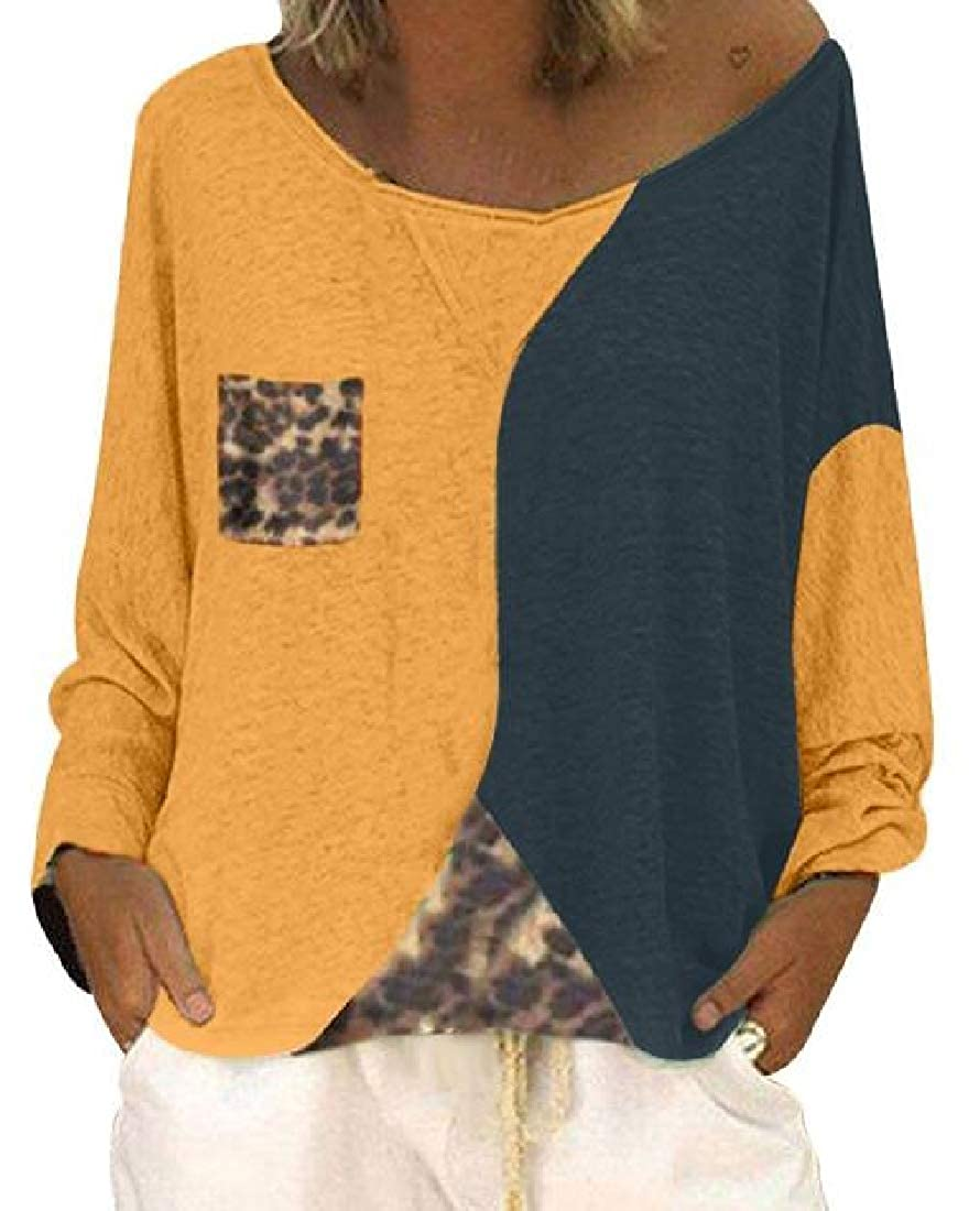 Zantt Women T-Shirts Color Blocked Long Sleeve Loose T-Shirt Top Blouse