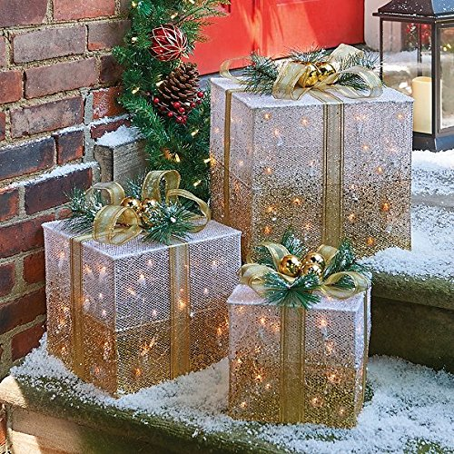Outdoor Lighted Christmas Led Gift Presents Decoration - 1