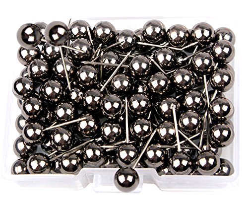 s Push Pins 1/4 inch Diameter Plastic Round Head and 7/16 inch Steel Needle Points,for Marking Variety Craft Office and Home on Map,Bulletin Board Or Cork Boards(Metallic Black) (Cork Board Crafts)