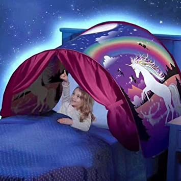 Magical Dream Tent Portable Kids Pop Up Bed Tent Playhouse Starry Sky / Dinosaurs (Unicorn : bed tent for kids - memphite.com