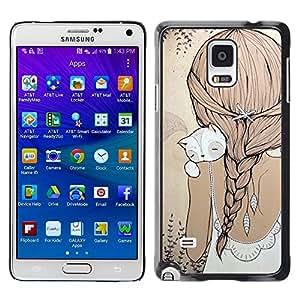 Caucho caso de Shell duro de la cubierta de accesorios de protección BY RAYDREAMMM - Samsung Galaxy Note 4 SM-N910 - Ponytail Cat Beige Dress Sweet