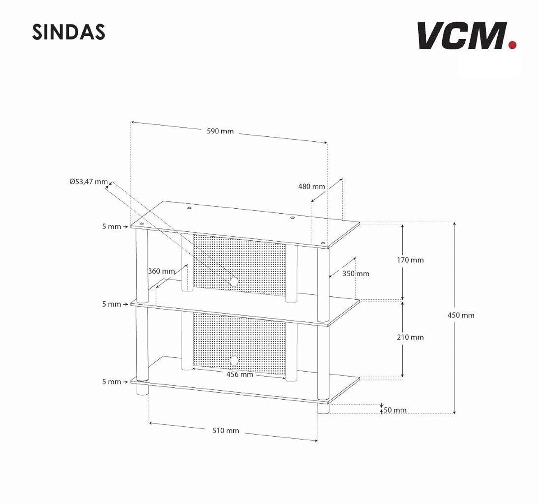 Klarglas Sindas VCM 14120 TV Rack Lowboard Schrank Konsole Fernsehtisch M/öbel Bank Glastisch Tisch Aluminium