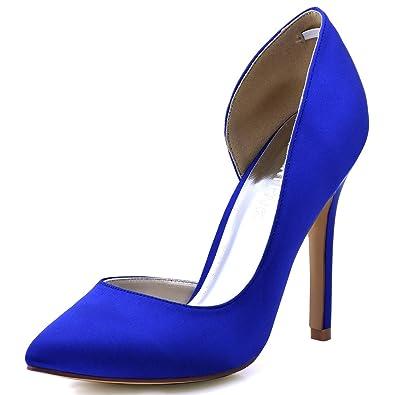 ElegantPark HC1601 Women s Pointed Toe High Heel D Orsay Satin Dress Pumps  Royal Blue US