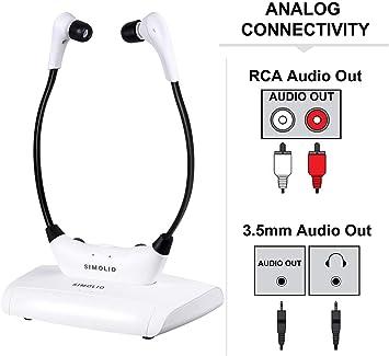 SIMOLIO - Auriculares inalámbricos para televisión, sistema de escucha de televisión, audífonos para personas mayores, auriculares inalámbricos para TV con almohadillas extrasuaves, amplificador de sonido de TV (SM-823): Amazon.es: Electrónica