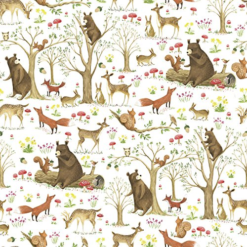 Jillson Roberts 6 Roll-Count Baby Shower Gift Wrap Available in 5 Different Designs, Fairytale Forest