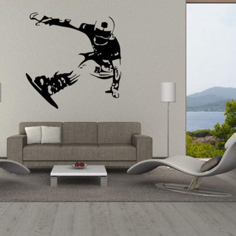 JXFM Habitación de los niños decoración del Dormitorio Patinaje esquí Pegatinas de Pared Pasillo diseño de Entrada Papel Tapiz Pegatinas extraíbles 57 * 58 cm