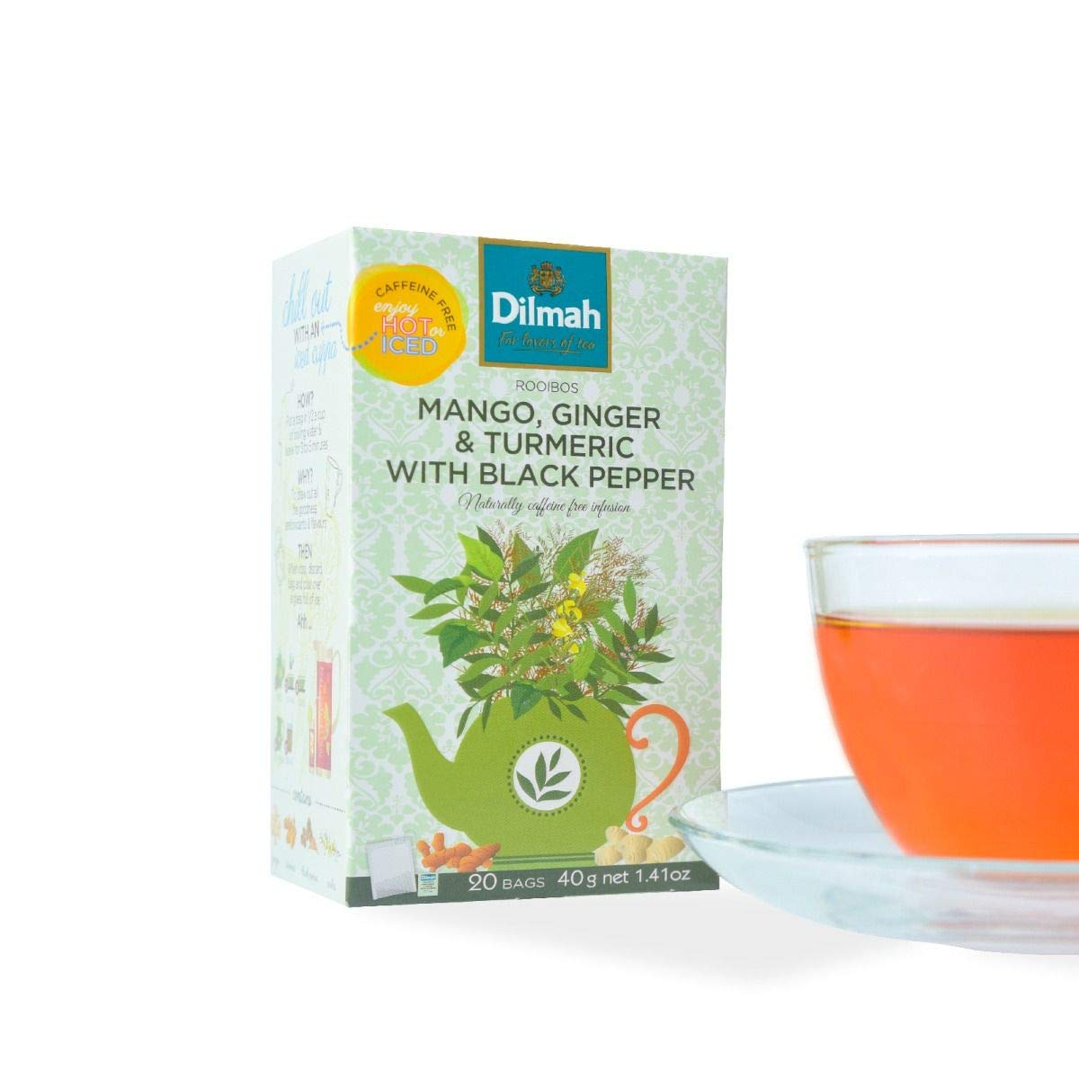 Dilmah Red Rooibos with Mango,Ginger,Turmeric with Black Pepper Tea - 20 Tea Bags X 8 Pack - Naturally Caffeine Free by Dilmah