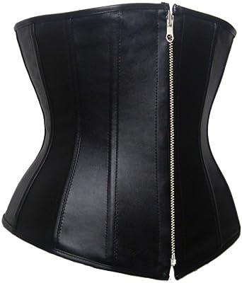 b1da911329c Faux Leather Corset Plus Size S-6XL Underbust Waist Slimming Zipper Waist  Trainer (Small