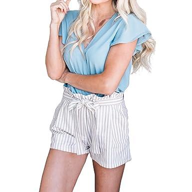 iShine Shorts à Rayures pour Femme Short à Pattes Larges Casual Pantalon  Court Shorts d été Elégant Femme Shorts avec Ceinture  Amazon.fr  Vêtements  et ... b292c02ab68