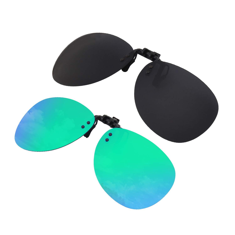 GQUEEN Polarisierte angeklippt Flip Randlose Flieger Objektiv Außen Fahren Angeln Sonnenbrillen, JP94 UK-J9GQ04-2F-5