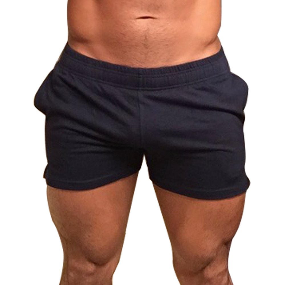 MUSCLE ALIVE Mens Workout Shorts Gym with 3' Inseam for Fitness Bodybuilding Clothing Black Color Size 2XL N3ST-Heavy-Black-2XL
