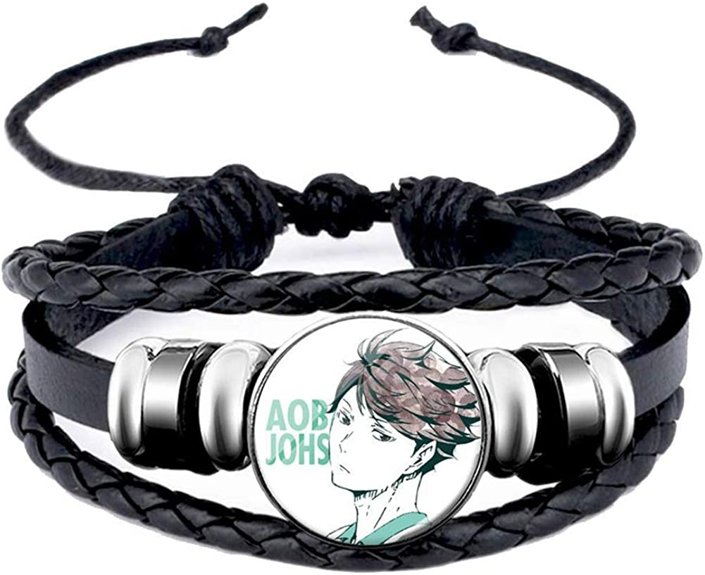 Apehuyuan Anime Haikyuu Black Braided Leather Bracelet for Men Women Nekoma Aobajohsai Fukurodani Shiratorizawa Cool Wristband Bangle