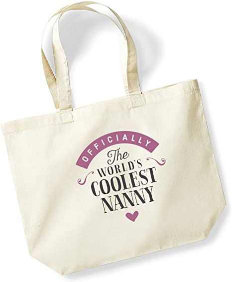 Nanny Birthday Or Christmas Gift Bag Tote Shopping Bag Birthday Gift Present Gifts For Women Worlds Coolest Nanny Natural Amazon Co Uk Kitchen Home