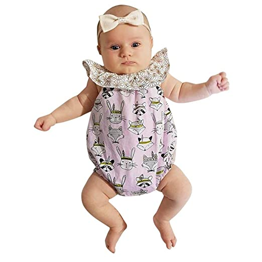 e43913ca86 ChainSee Baby Girl Easter Rabbit Print Sleeveless Romper Jumpsuit Outfit  Set (6 Month