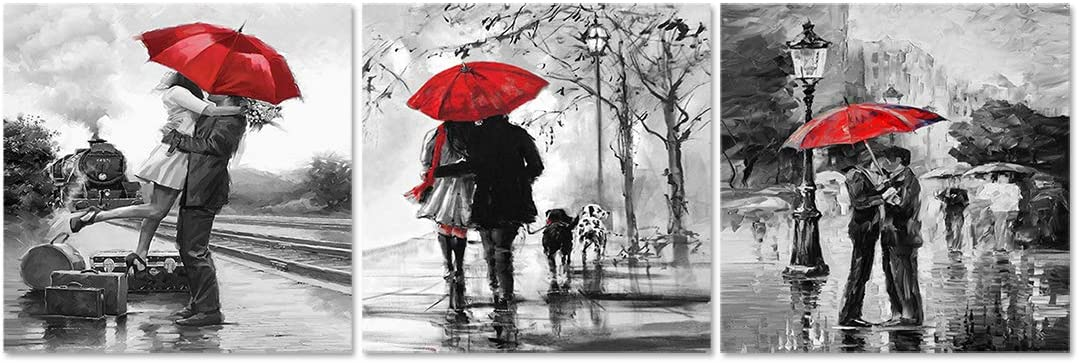 Natural art 3 Panels Romantic Lovers Canvas Prints Red Umbrella Wall Art Decor Stretched Frames for Bedroom Bathroom Ready to Hang