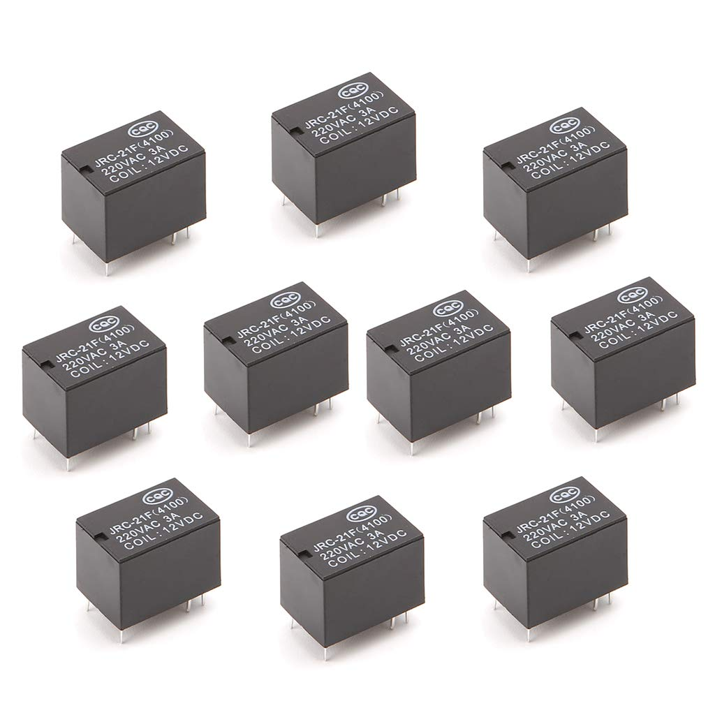 DC 5V Viesky 10pcs JRC-21F 4100 DC Mini Power Relay 6-pin PCB Mount Circuit Board Relays 3V 5V 12V