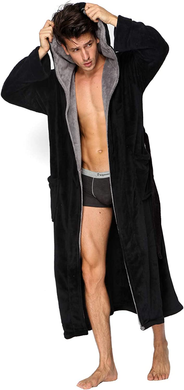 Hooded Herringbone Men's Black Soft Spa Full Length Warm Bathrobe With Grey Kimono Shawl Collar