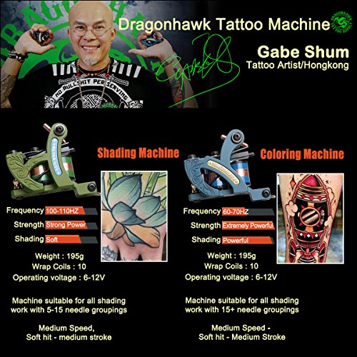 Dragonhawk Complete Tattoo Kit 4 Standard Tunings Tattoo Machine Guns Power Supply...