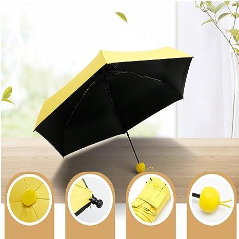 xhforever Cápsula paraguas Lindo Color Puro Paraguas A Prueba de Viento Paraguas Compacto Multifunción Portátil Plegable