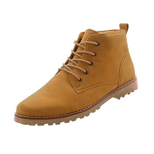 Gleader Nueva moda britanicos para hombre Casual de encaje gamuza Botines Mocasines Zapatillas de deporte Amarillo