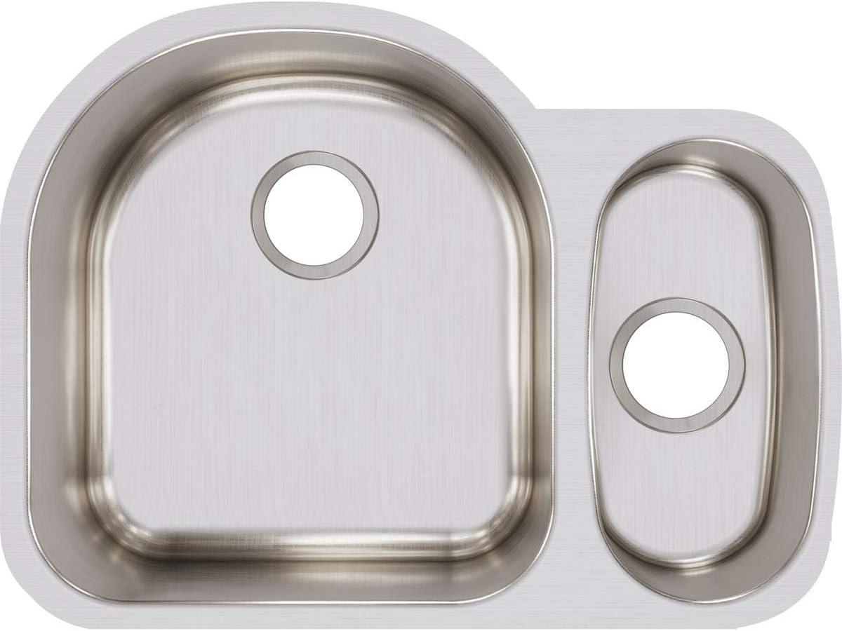 Elkay ELUH272010R Lustertone Classic Offset 70 30 Double Bowl Undermount Stainless Steel Sink