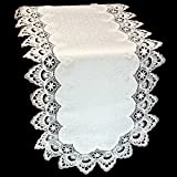 Doily Boutique Table Runner with Antique White (Winter White) European Lace and Fabric, Size 54 x 15 inches