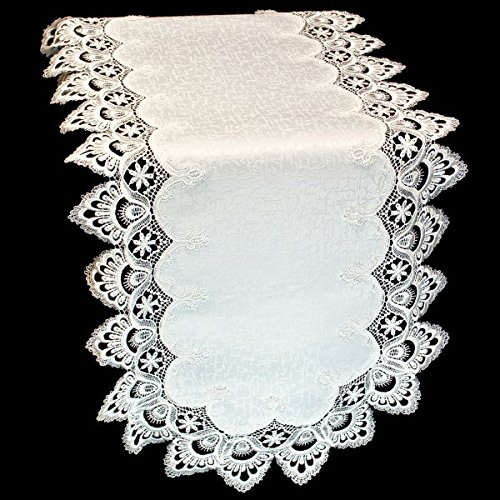 Doily Boutique Table Runner with Antique White (Winter White) European Lace and Fabric, Size 54 x 15 inches by Doily Boutique