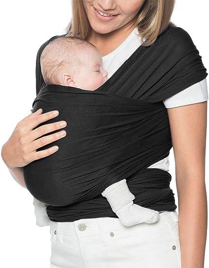 Noir Echarpe de Portage Bebe Coton Elastique Porte B/éb/é Confort Baby Wrap Carrier Echarpe pour B/éb/é et Nouveau-n/és Jusqu/à 15 kg