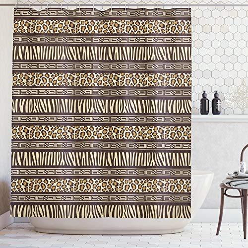 - Ambesonne Leopard Print Shower Curtain Primitive Decor by, African Safari Sexy Leopard Print World Wildlife Brownish Geometric, Polyester Fabric Bathroom Shower Curtain Set with Hooks, Black Cream