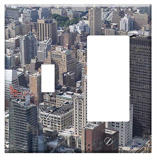 1-Toggle 1-Rocker/GFCI Combination Wall Plate Cover - New York City Bulding View Aerial Manhattan 2 ()