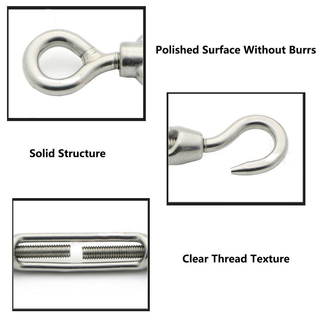 M12 Hook /& Eye tenditore in acciaio inox 304