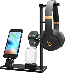 XUNMEJ Watch Stand Station for Apple Watch Charging Dock Station Headphones Stand Holder Phone Docking Station for Apple Watch Series 2/1 AirPods iPhone Xs X Max XR 7 7plus 6s 6plus iPad (Black)