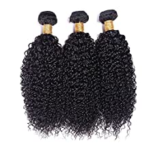 Wigsforyou Afro Kinky Curly Brazilian Curly Weaves Hair Bundles Human Hair Extensions Weft Wave 1 Bundels Natural Color(1pc/lot, 50g/pc) by Wigsforyou