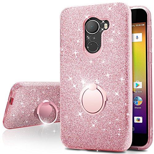 T-Mobile REVVL Case, Alcatel A30 Plus Case, Alcatel A30 Fierce Case, Alcatel Walter Case, ,Silverback Girls Bling Glitter Case With Stand, TPU Cover + PC Shell for Alcatel A30 Fierce 2017 -Rose Gold