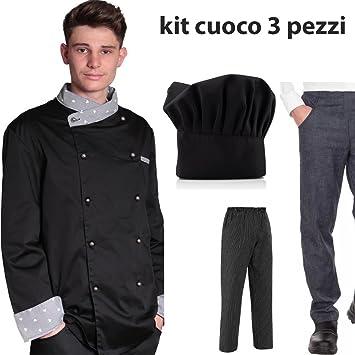 Chaqueta para chef pastelero, con gorro y pantalón negro o jean: Conjunto de 3