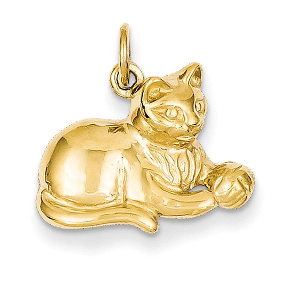Lex & Lu 14k Yellow Gold Cat Charm LAL73236-Prime